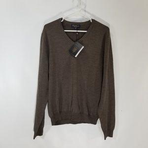 New Mens Brooks Brothers Sweater Brown Saxxon Wool